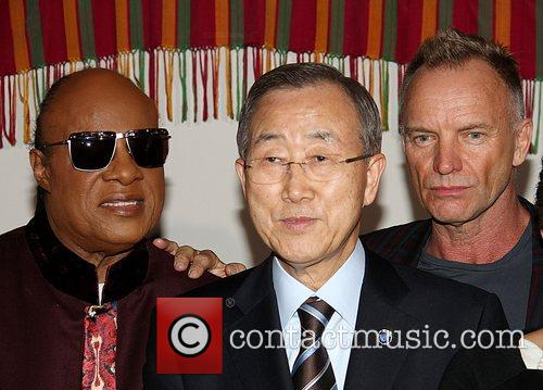 Ban Ki Moon, Stevie Wonder, Sting and Debra Lee 4