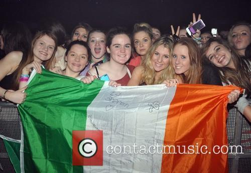 Fans Ed Sheeran performs live at the O2...