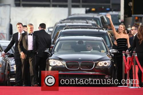 George Clooney, Stacy Keibler and Beverly Hilton Hotel 1