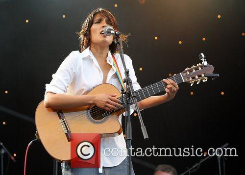 Tanita Tikaram performing on stage in the grounds...