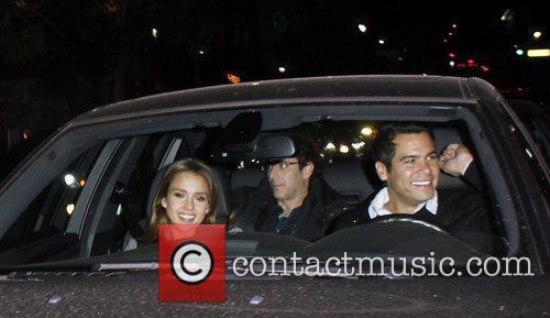Jessica Alba and Cash Warren leaving Cleo restaurant...