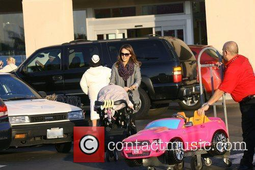 Jessica Alba leaving Toys R US after purchasing...