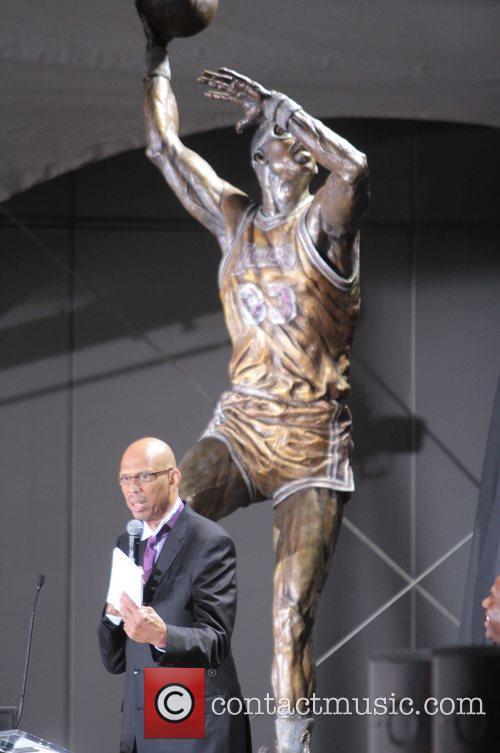 Kareem Abdul Jabbar During Kareem Abdul Jabbar Statue...