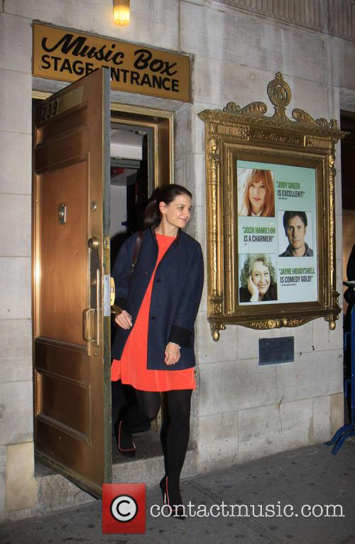 Katie Holmes leaves the Music Box theater with...