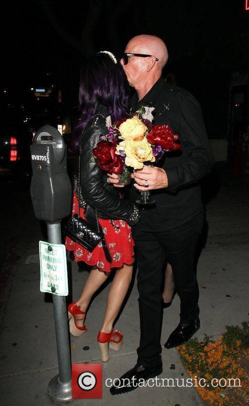 Katy Perry and her father Keith Hudson leaving...