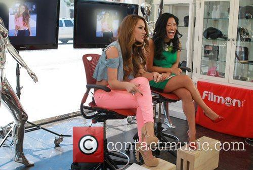 Kimberley Cole is interviewed on the set of...