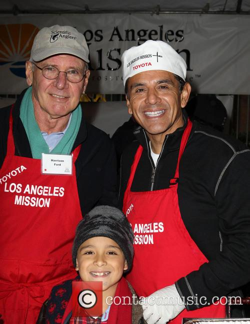Harrison Ford, Mayor Antonio Villaraigosa, Andres Silva