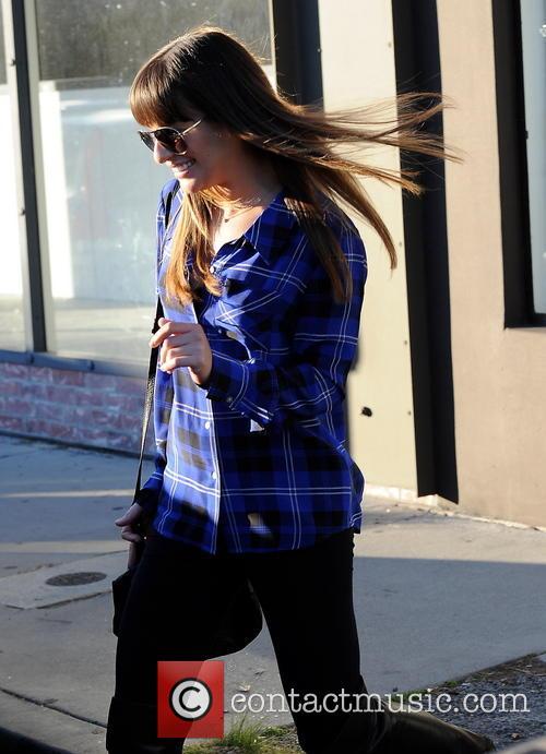 Glee star, Lea Michele at a hair salon...