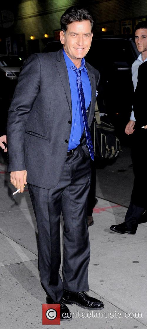 Charlie Sheen arrives at Letterman Show