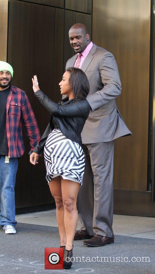 NBA player Shaquille O'neal and his girlfriend Nicole...