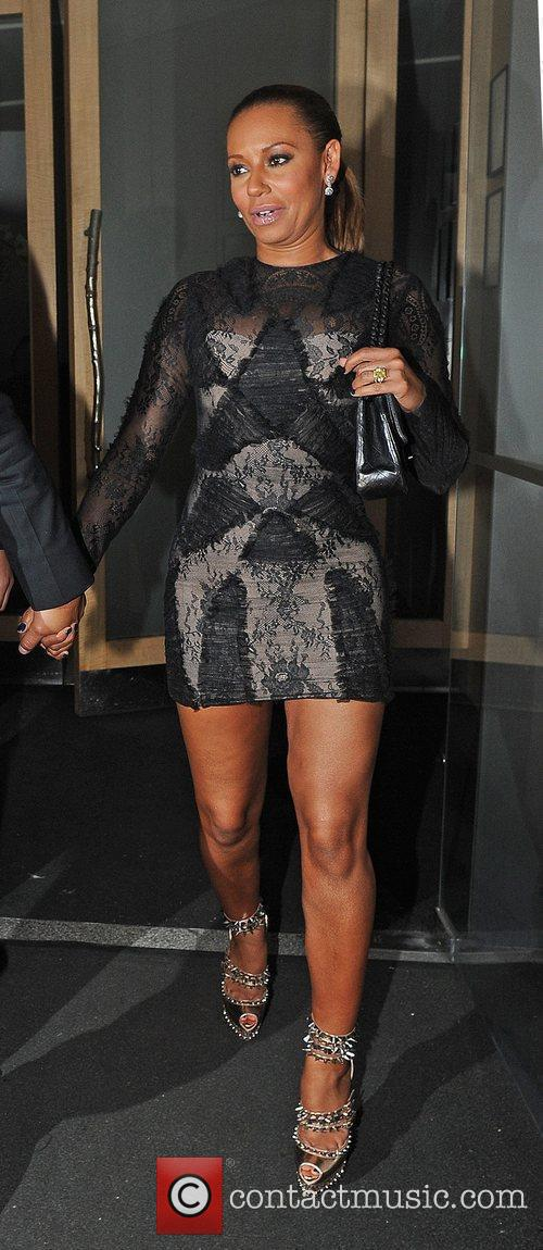 Leaving Nobu restaurant in Mayfair.