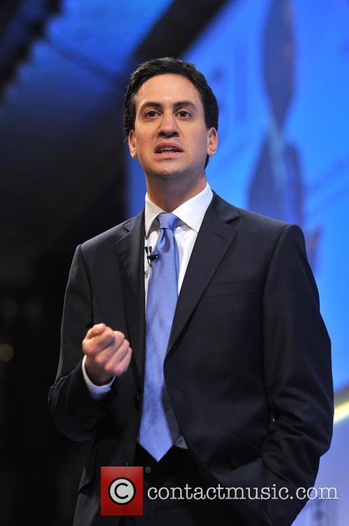 Labour Party leader Ed Miliband delivers his speech...