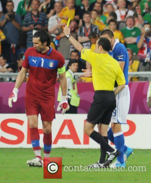 Gianluigi Buffon (Juventus) for Italy is shown the...