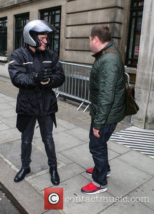 Olly Murs  departs the BBC Radio 2...