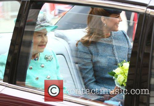 Queen Elizabeth II and Catherine, Duchess of Cambridge,...