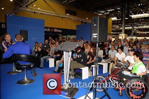 27.09.2012. Birmingham, England. Sir Chris Hoy on stage...