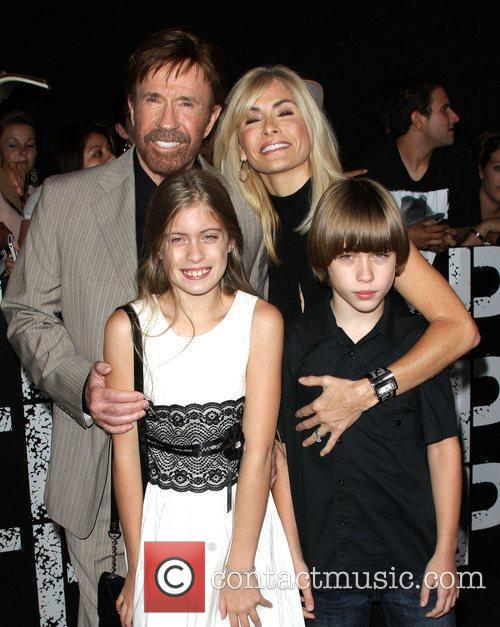 Chuck Norris with his wife Gena and twins...