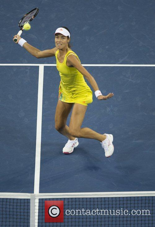 Ana Ivanovic of Serbia in action against Serena...