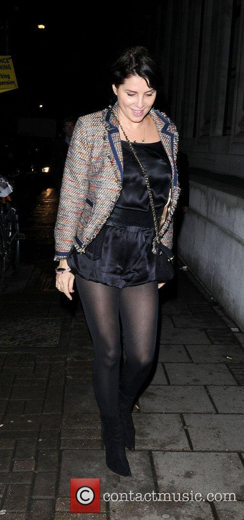 Sadie Frost leaving the Vauxhall Fashion Scout catwalk...
