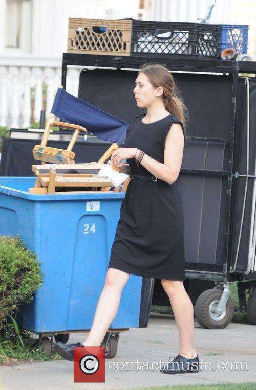 Elizabeth Olsen on the set of  Very...