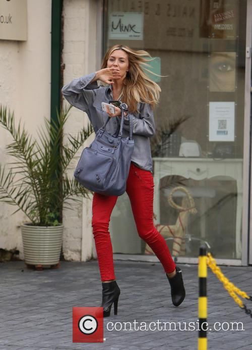 Abbey Clancy leaves the Sam Mitchell beauty salon...