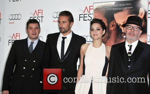 Tom Bernard, Mathias Schoenaerts, Marion Cotillard, Jacques Audiard and Grauman's Chinese Theatre 2