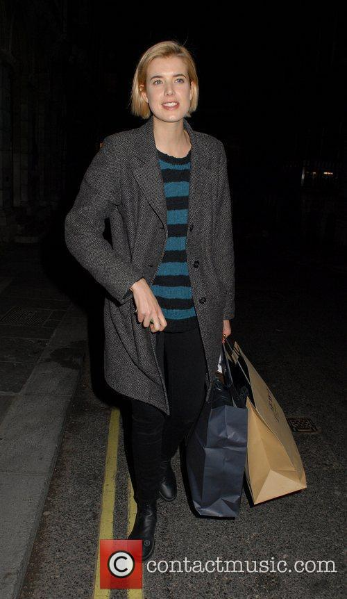 Agyness Deyn leaving the Trafalgar Studios, having performed...