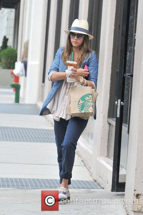 Jessica Alba and her family are seen out...