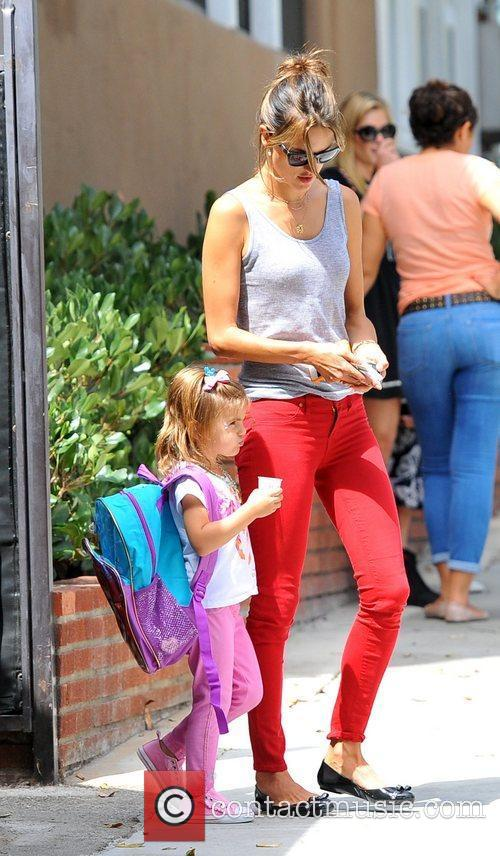 Alessandra Ambrosio  picks up her daughter Anja...
