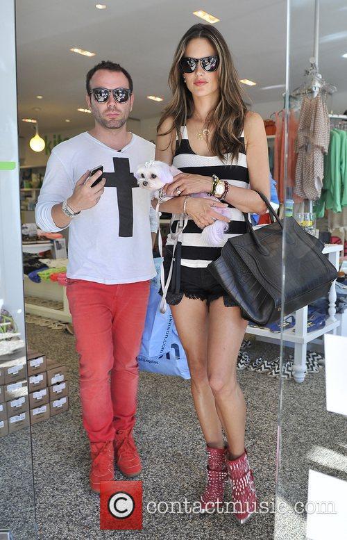 Alessandra Ambrosio with Matheus Mazafera shopping at Kitson...