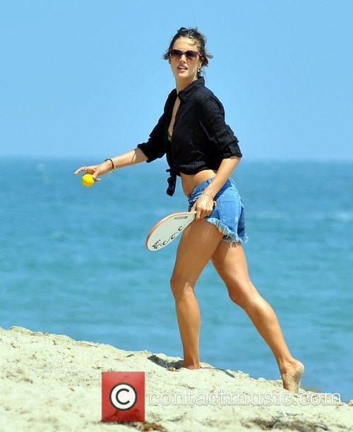 Alessandra Ambrosio enjoys a day on Malibu beach...