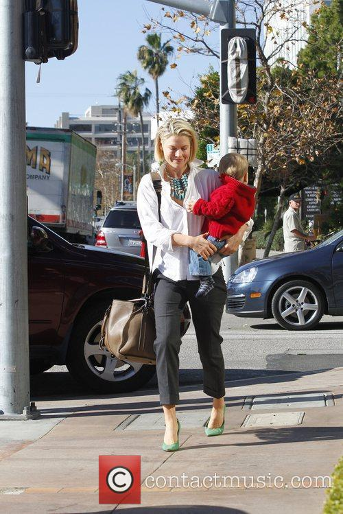 Ali Larter takes her son Theodore to the...