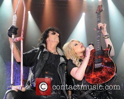Alice Cooper and Orianthi perform live during the...