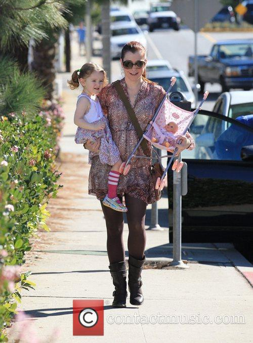 Alyson Hannigan and her daughter Satyana out for...
