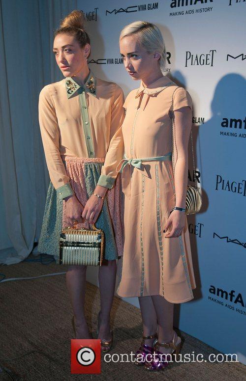 Mia Moretti and Caitlin Moe amfAR inaugural benefit...