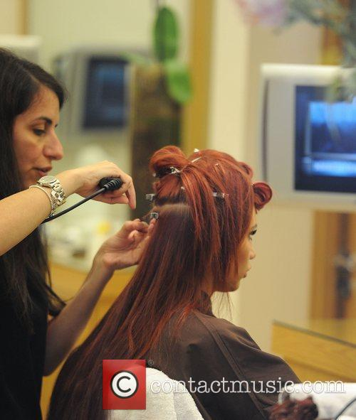 Michelle Heaton and Amy Childs getting their hair...
