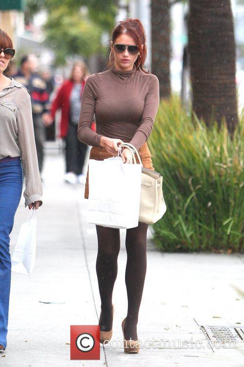Amy Childs is seen leaving a cosmetics shop...