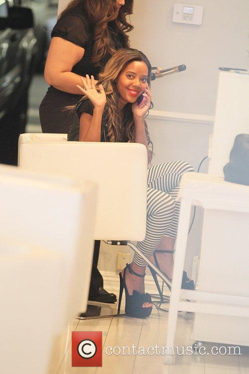 Angela Simmons seen at a salon on Bedford...