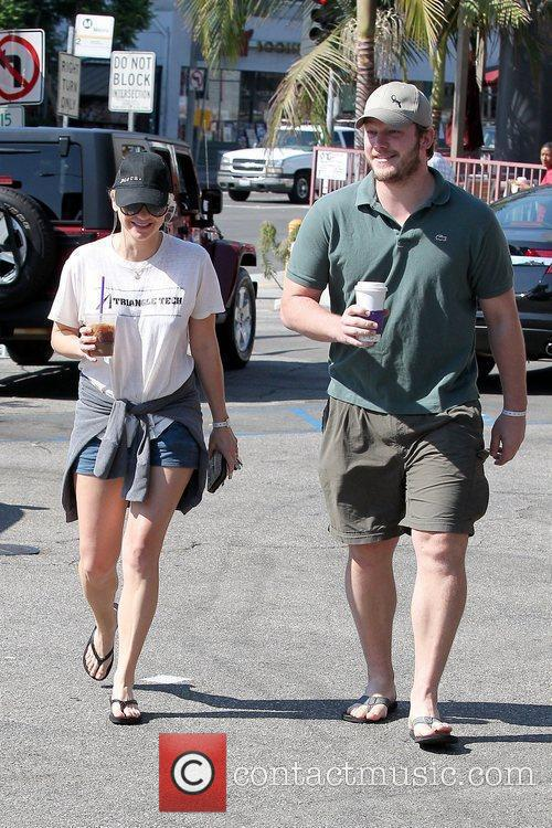 Seen with husband Chris Pratt leaving The Coffee...