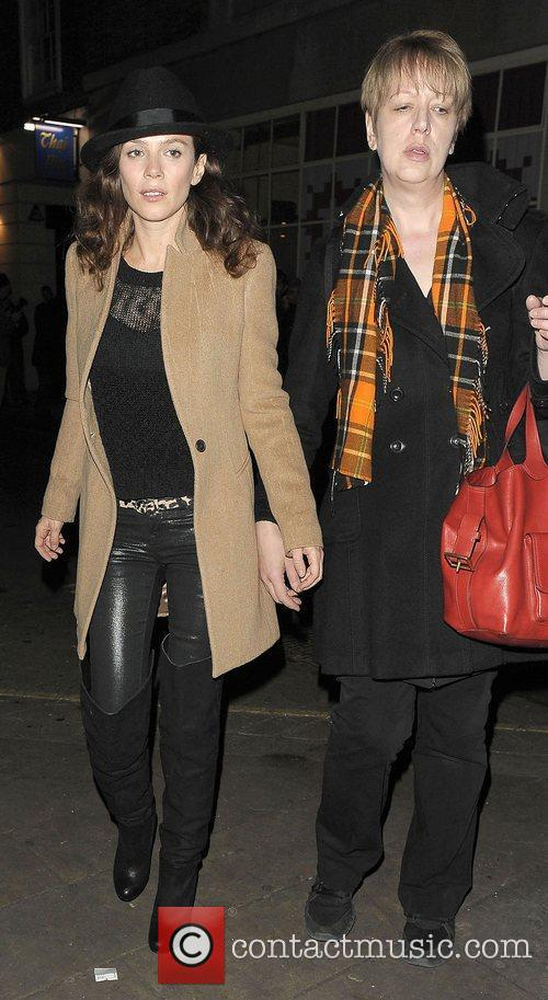Anna Friel leaving the Vaudeville Theatre after her...