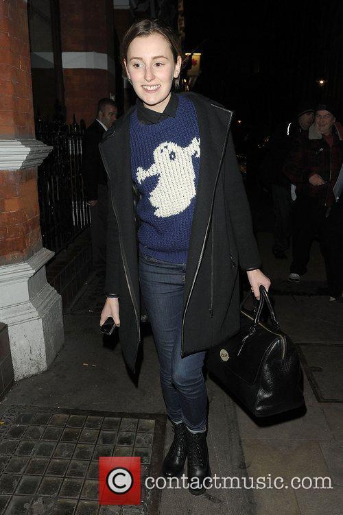 Laura Carmichael leaving the Vaudeville Theatre after her...