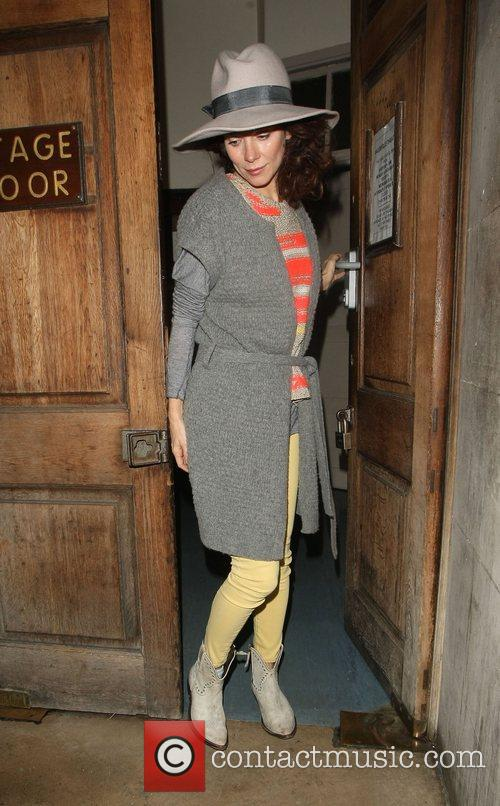 Anna Friel leaves the Vaudeville Theatre after starring...