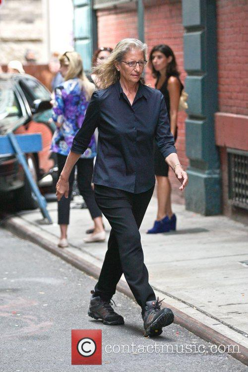 Annie Leibovitz on the set of a photoshoot...