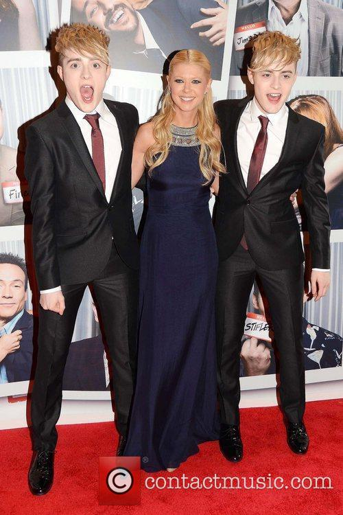 Tara Reid with Jedward The Irish Premiere of...