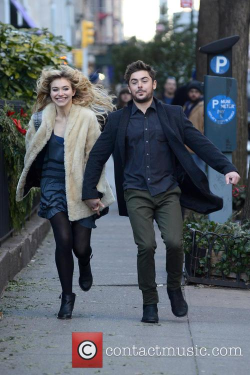 Zac Efron and Imogen Poots on set