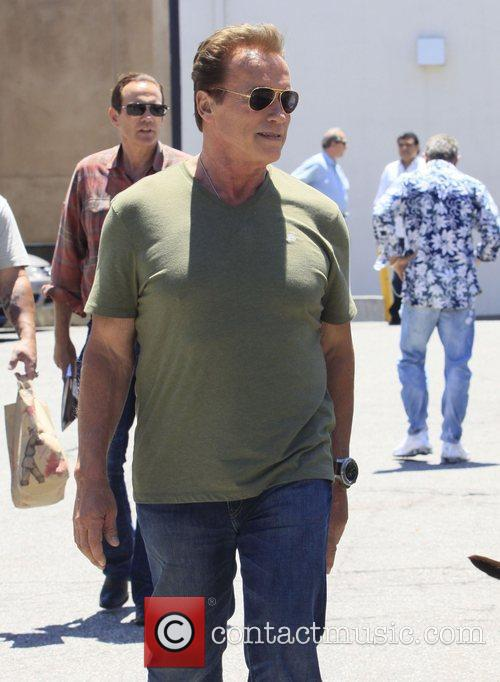 Arnold Schwarzenegger and friends after having lunch in...