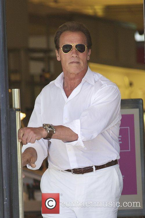 Arnold Schwarzenegger is seen after having lunch at...