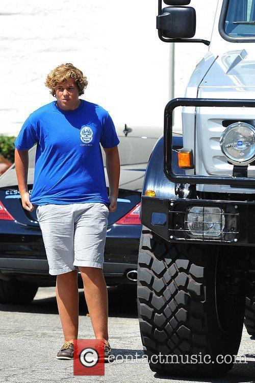 Christopher Schwarzenegger gets out of his dad's oversized...
