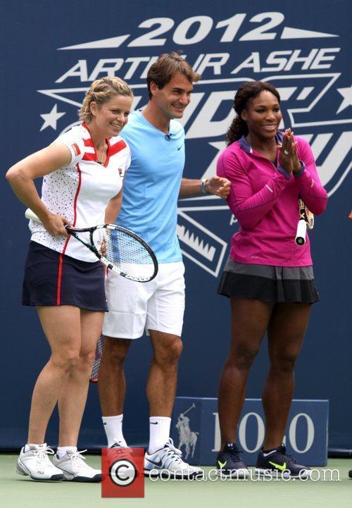 Kim Clijsters, Roger Federer and Serena Williams Arthur...