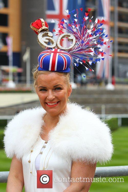 Lynne Webster wearing a Diamond Jubilee Union Jack...